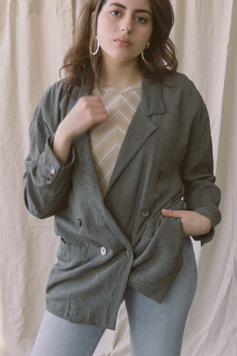 1980s Striped Double Breasted Blazer