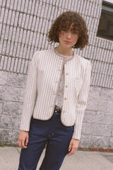 1980s Striped Structured Linen Blazer