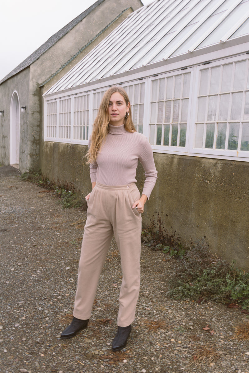 1980s Camel Wool Pleated Trousers | 4