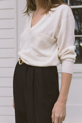 1980s V-Neck Ivory Knit Sweater