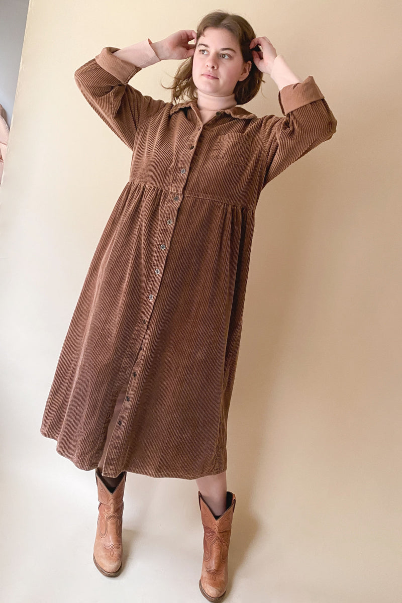 1990s Coffee Corduroy Country Dress