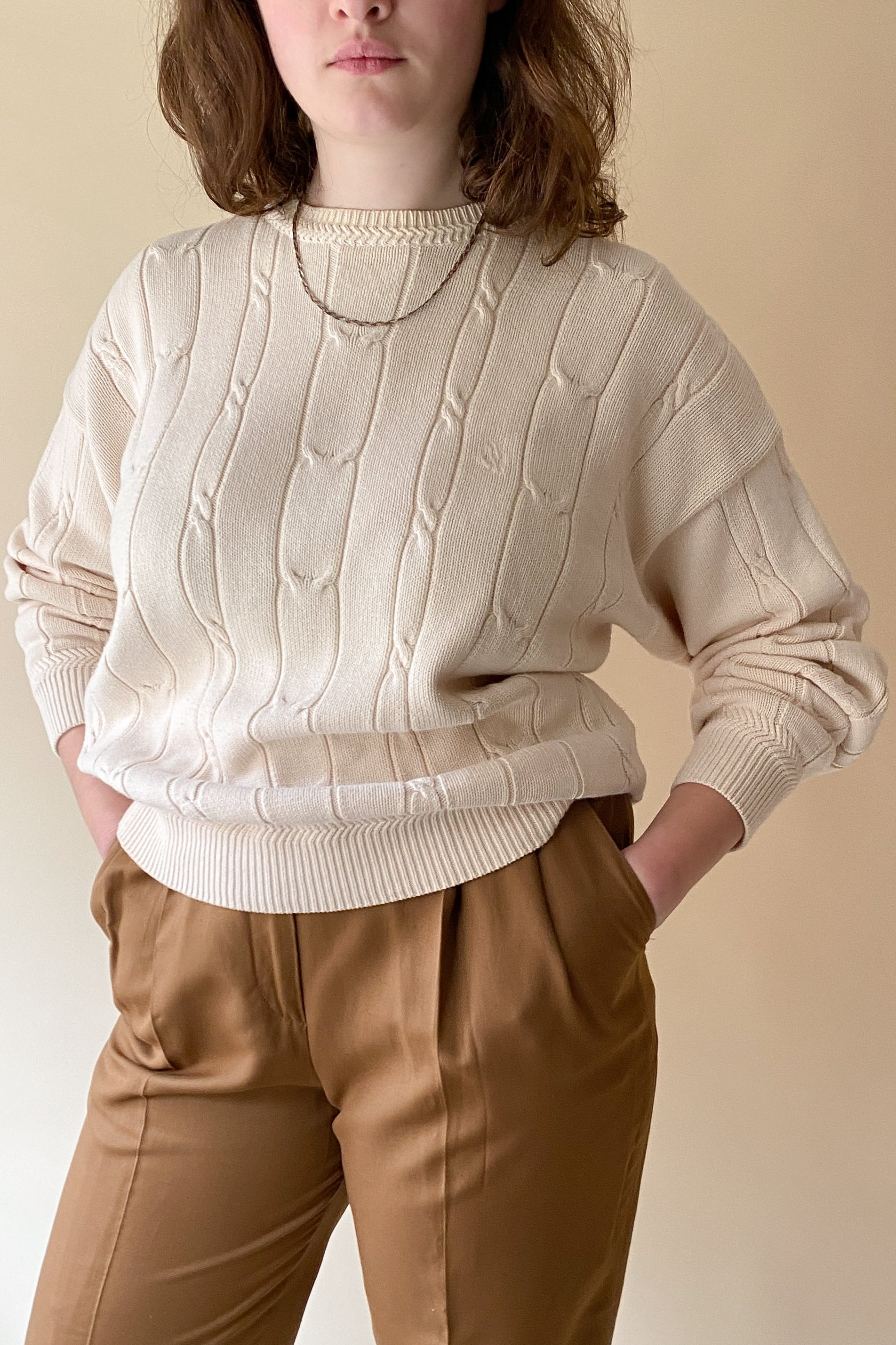 1990s Cotton Cable Knit Sweater