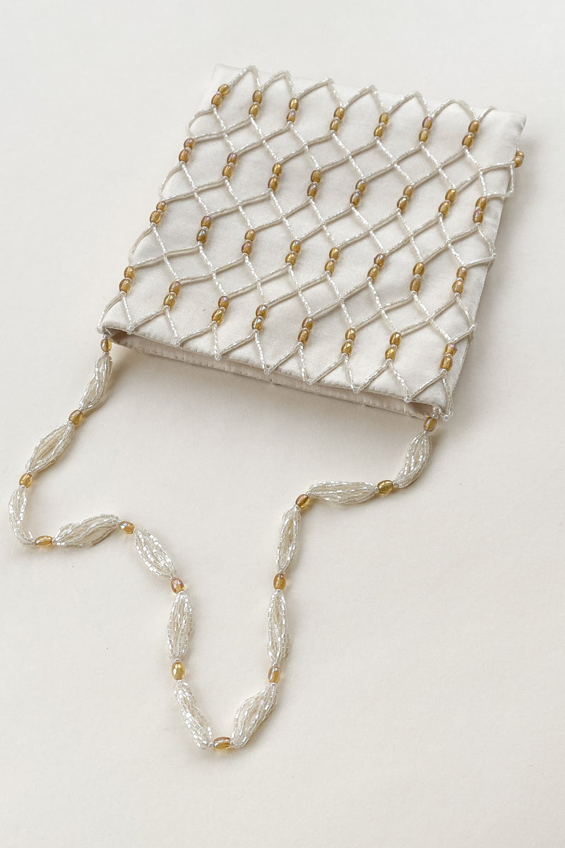 1990s Satin Beaded Fishnet Bag