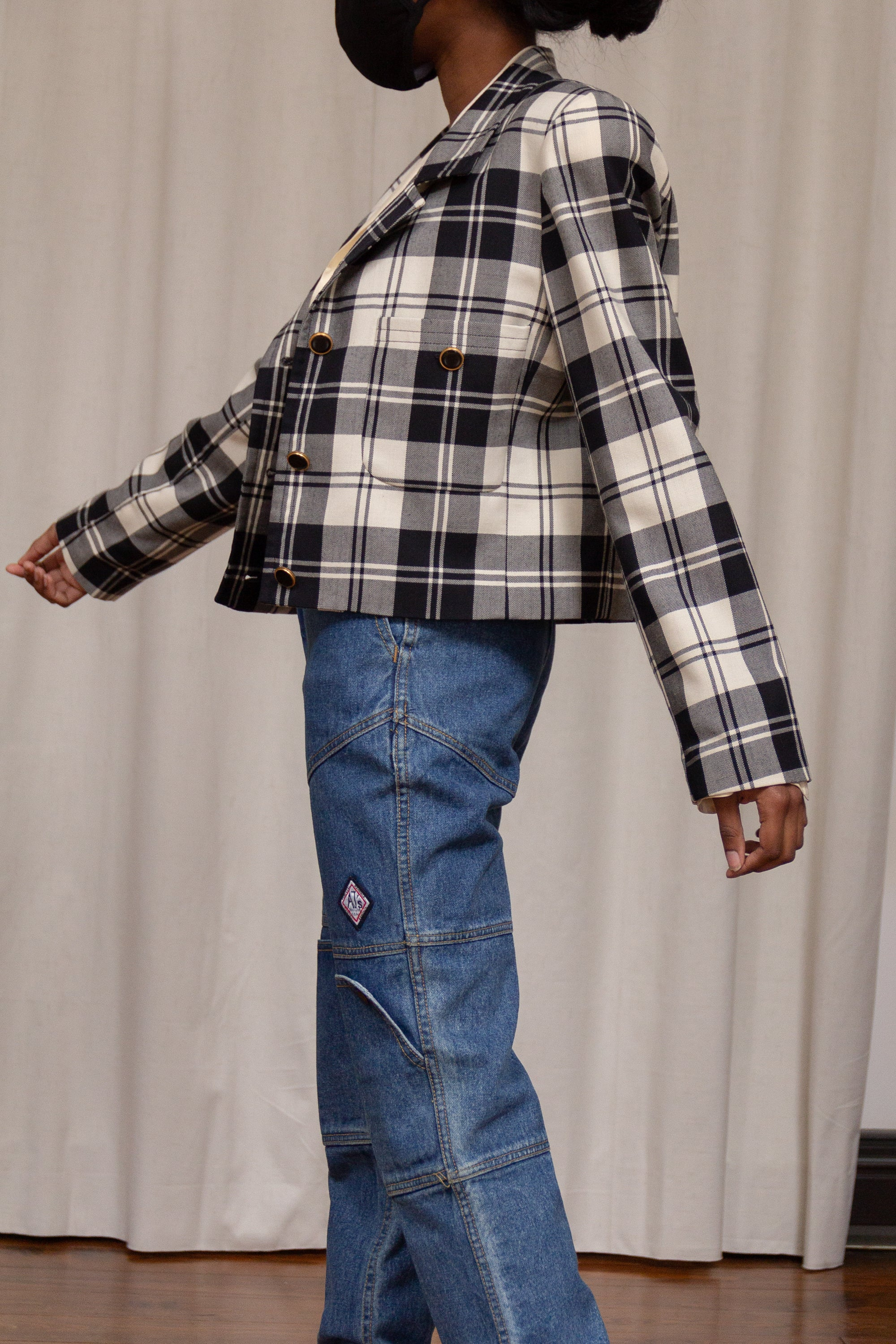 1990s Wool Plaid Cropped Blazer