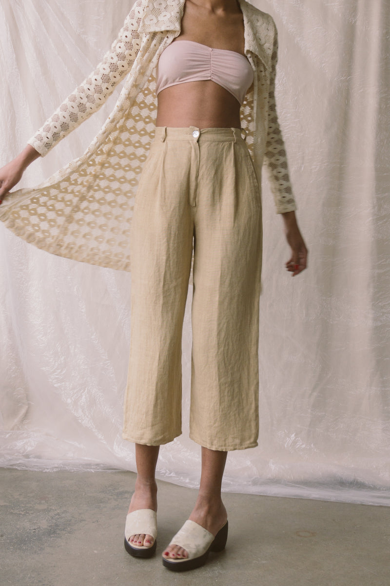 1990s Linen Cropped Wide Pants | sz 2