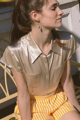1990s Champagne Satin Collared Blouse