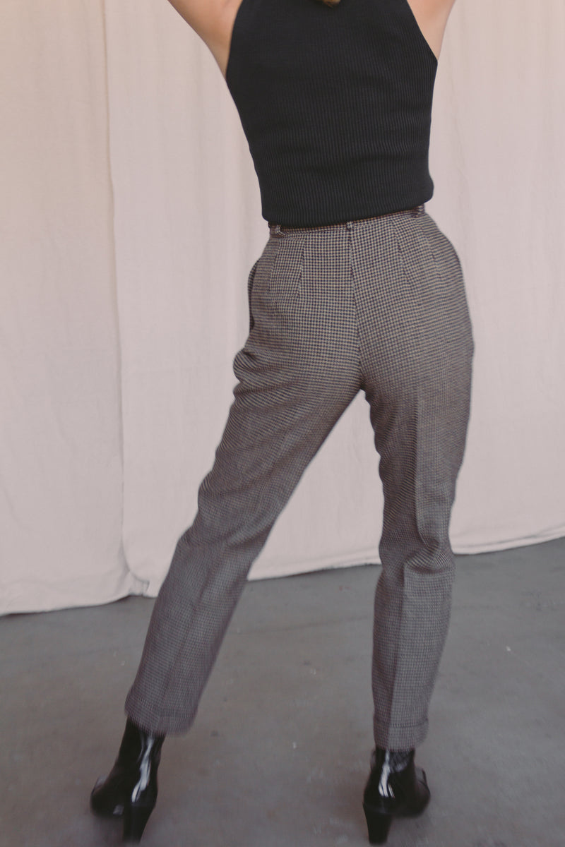 1990s Checkered Wool Trousers | sz 2