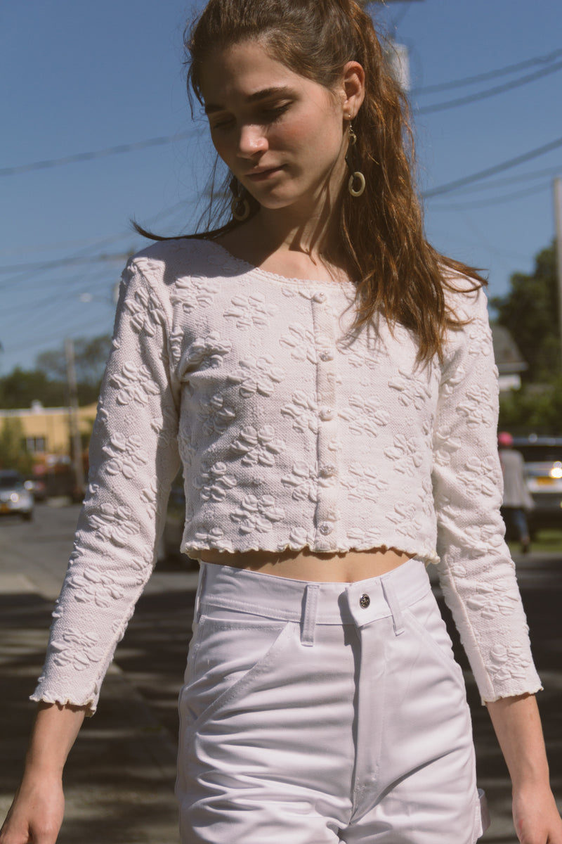 1990s Daisy Knit Crop Top
