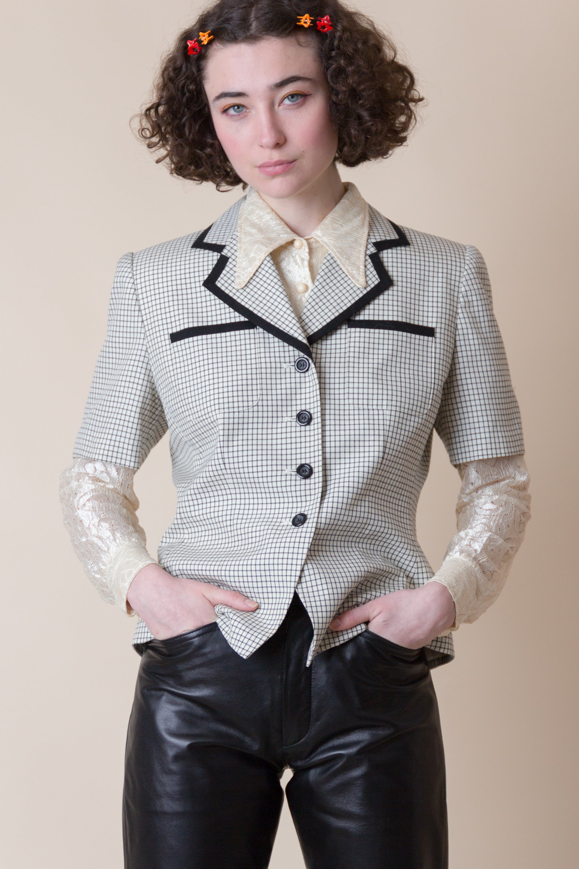 1990s Grid Short Sleeve Blazer