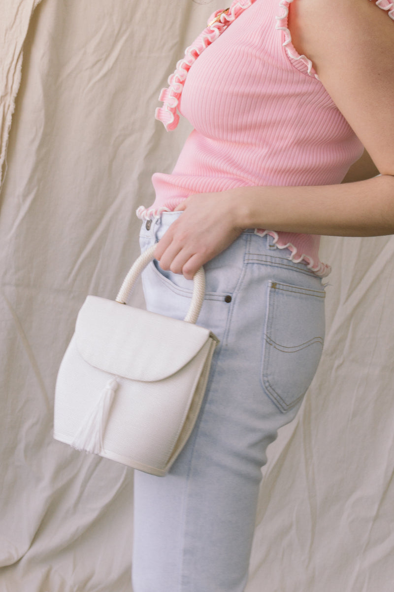 1990s Ivory Structured Tassle Bag