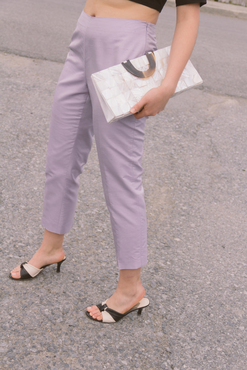 1990s Lavender Silk Flat Front Trousers