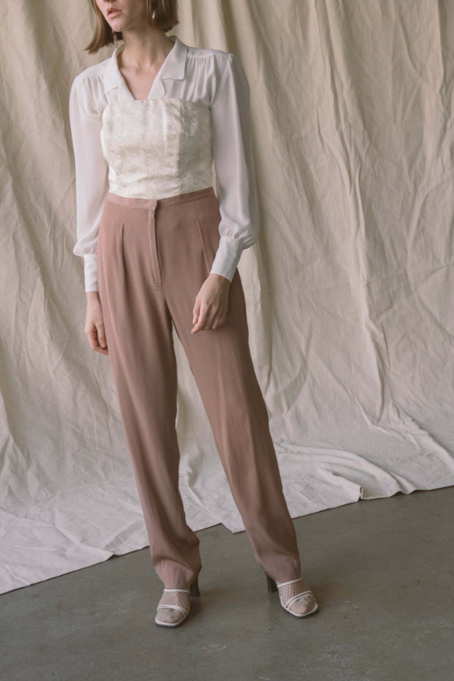 1990s Mauve Silk Flat Front Trousers