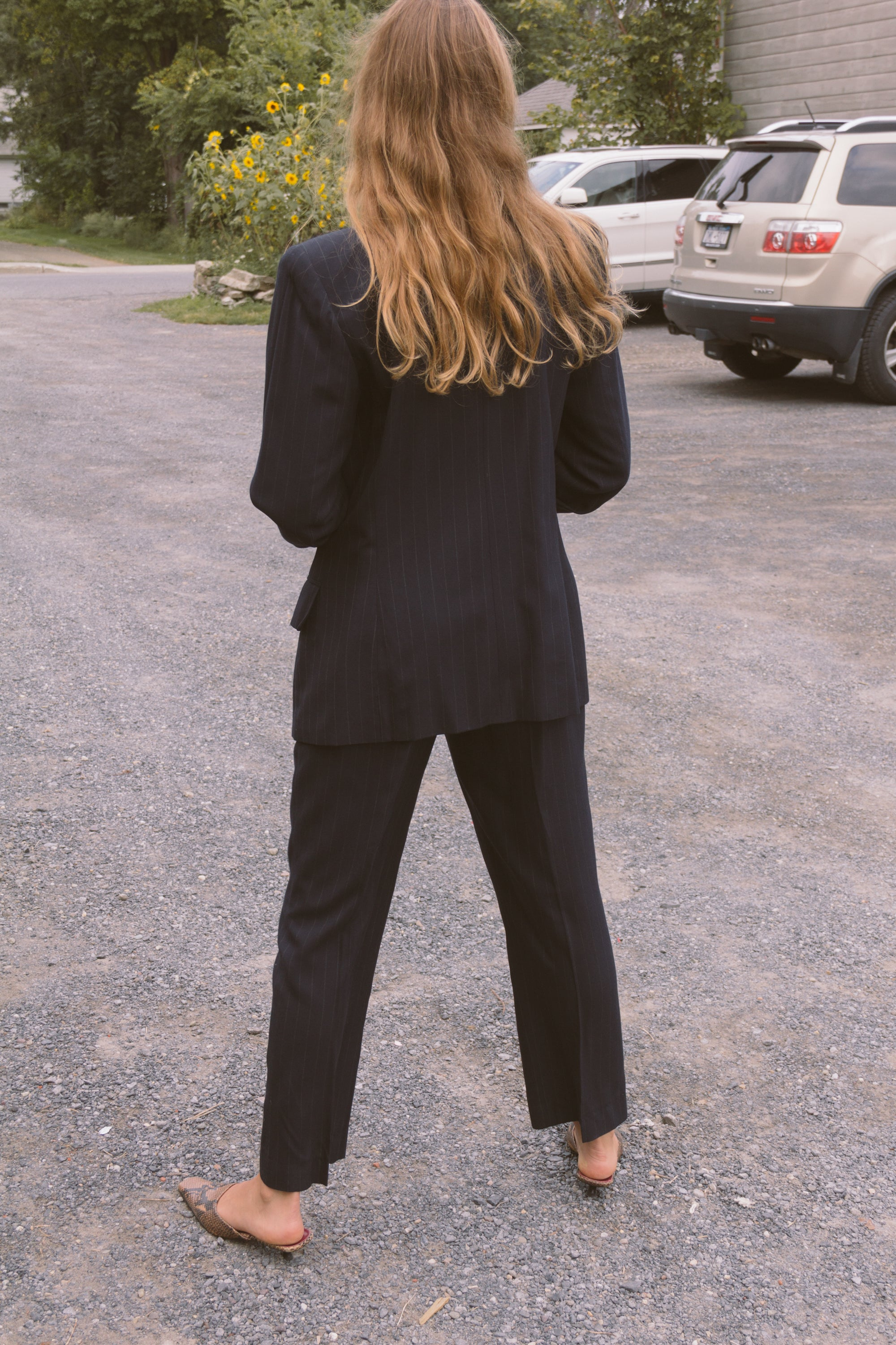 1990s Navy Pinstripe Structured Suit