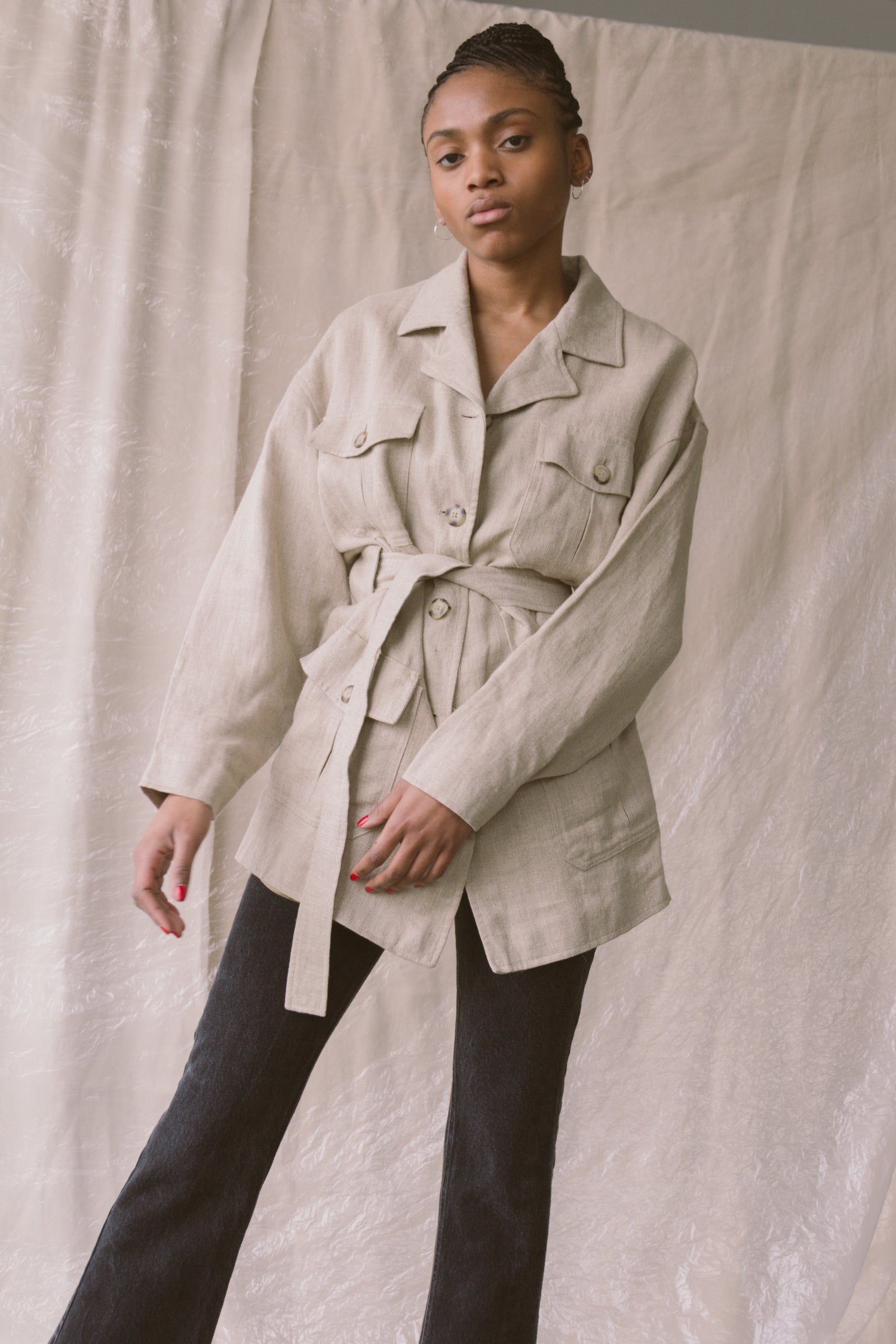 1990s Oversized Linen Safari Trench