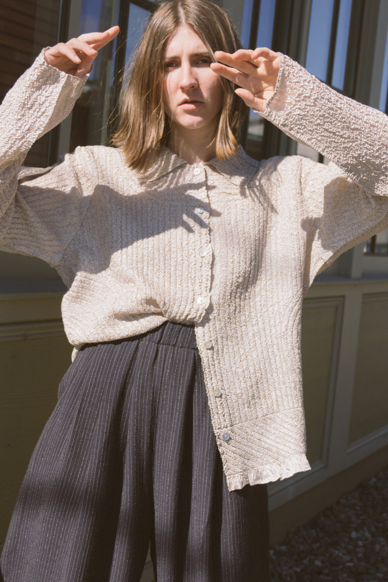 1990s Oversized Pressed Pleat Shirt