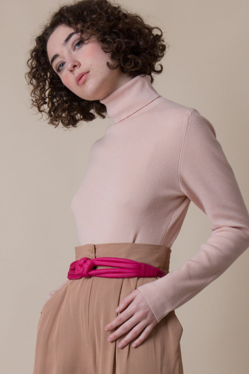 1990s Peach Cotton Knit Turtleneck