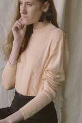 1990s Peach Silk Knit Mock Neck