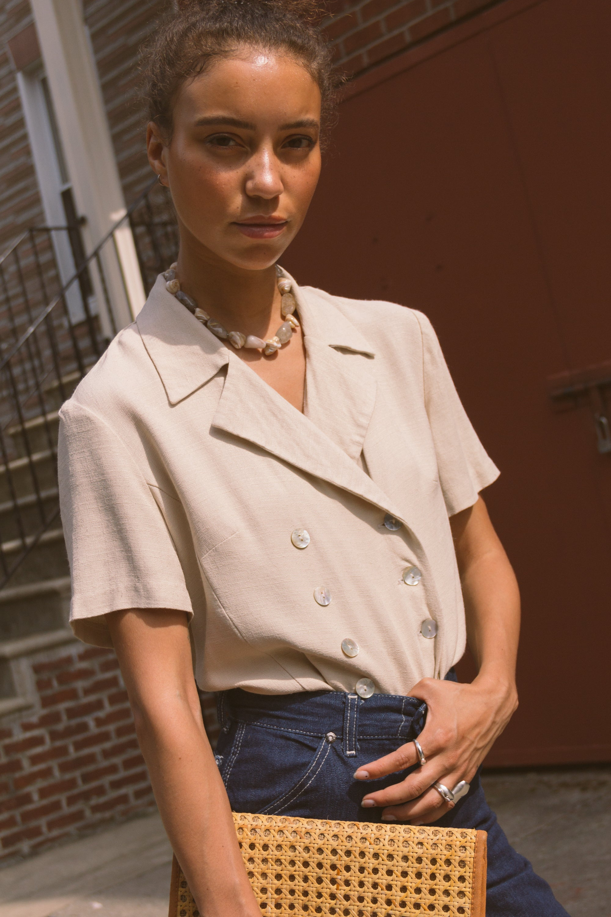 1990s Shell Button Ecru Blouse