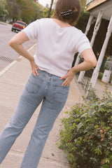1990s Cotton Ribbed Shell Button Top