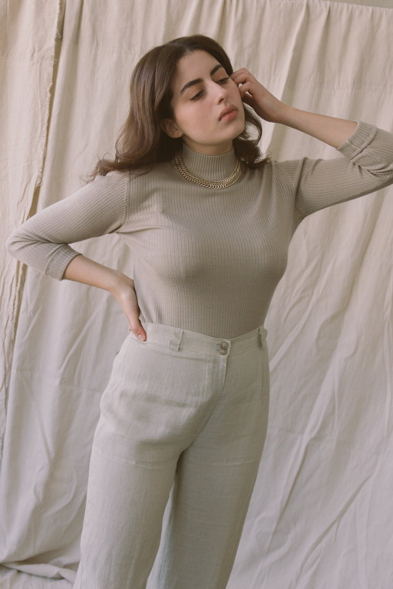 1990s Slate Silk Ribbed Knit Turtleneck
