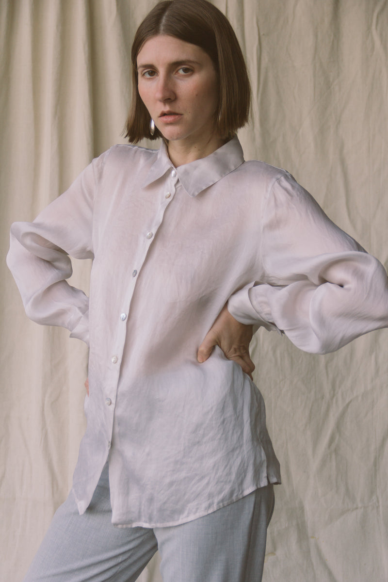 1990s Smoke Organza Blouse