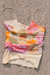 1990s Watercolor Mesh Floral Tank