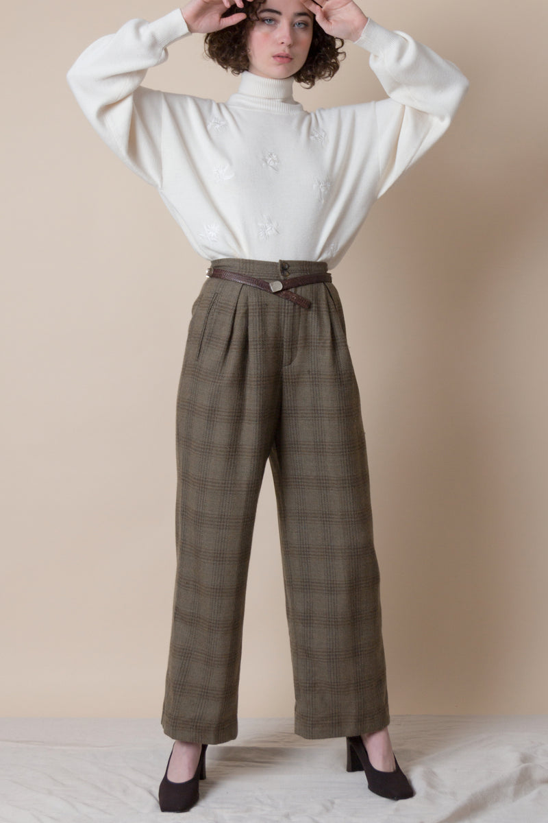 1990s Windowpane Plaid Trousers | sz 0