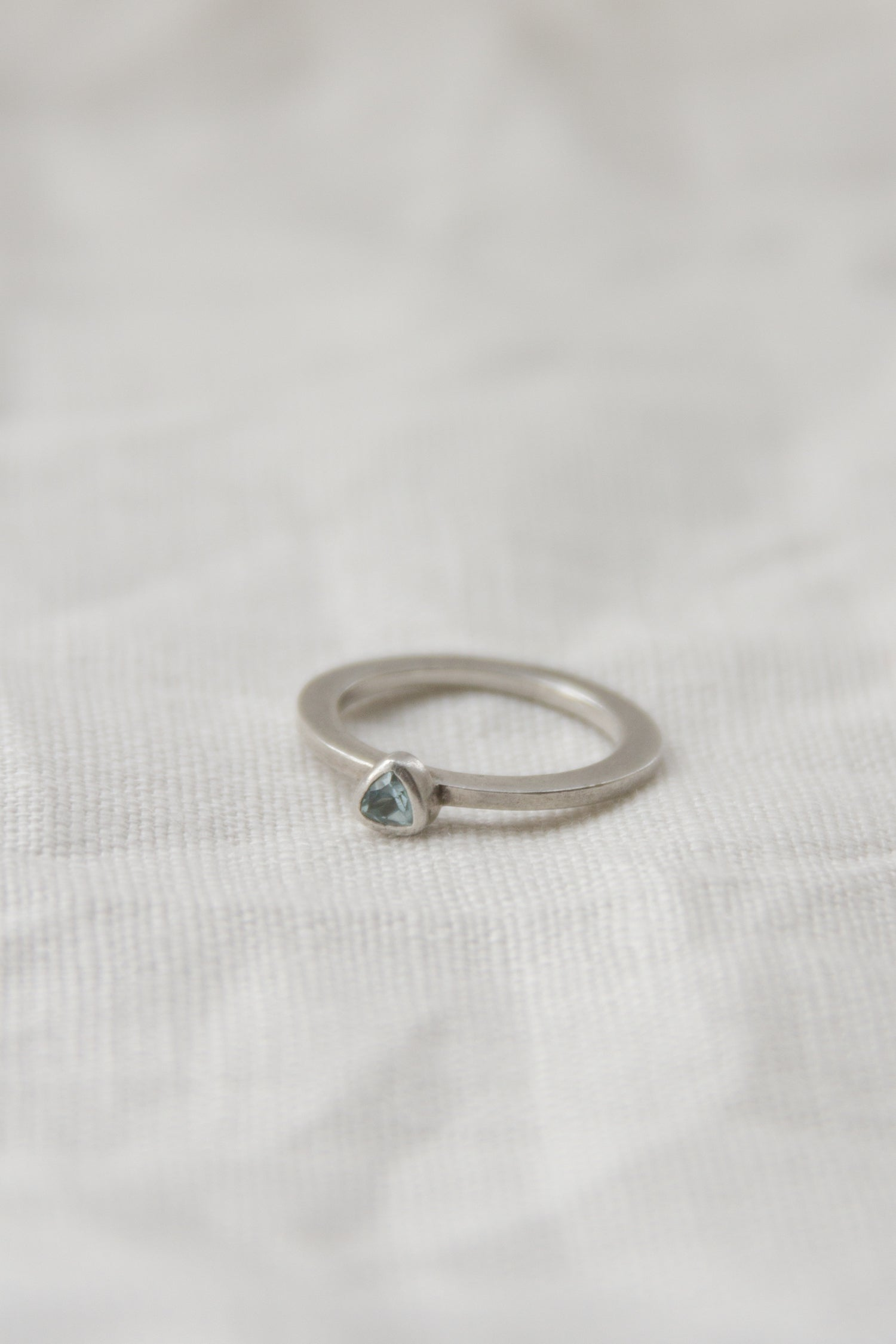 Sterling + Aquamarine Flat Band Ring