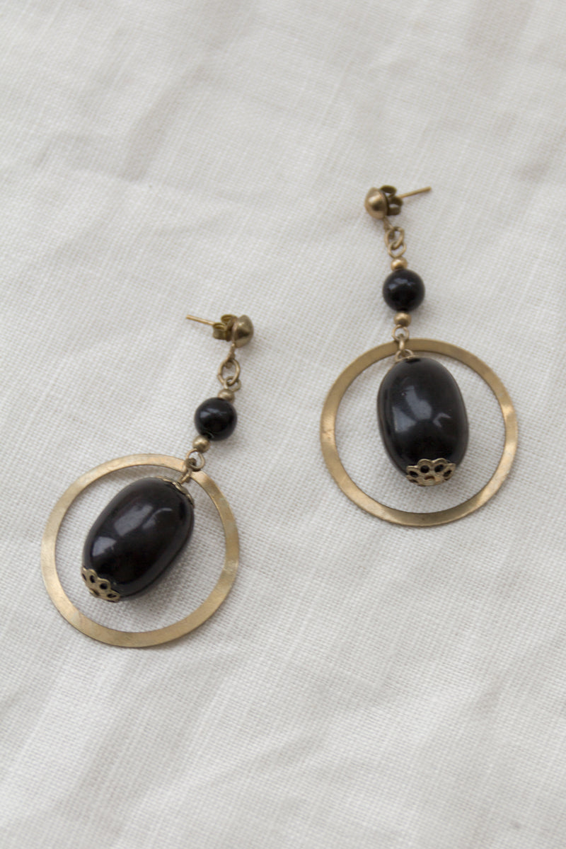 Gold Ring Ball Drop Earrings