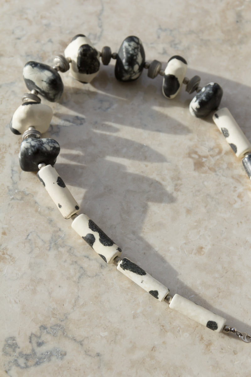 Spotted Clay Bead Necklace