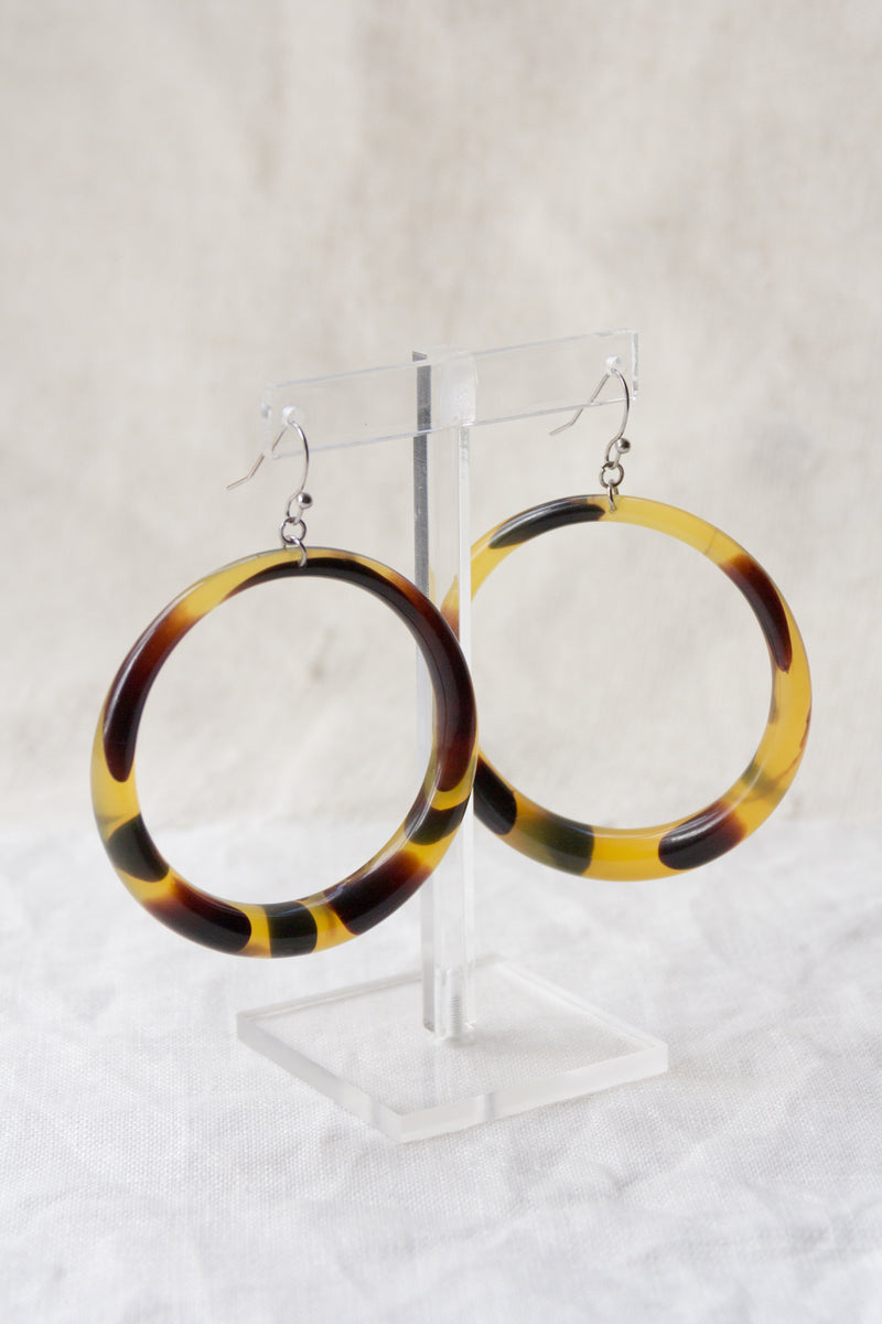 Vintage XL Celluloid Tortoise Hoops