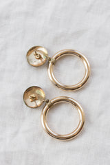 Vintage Gold Drop Hoop Earrings
