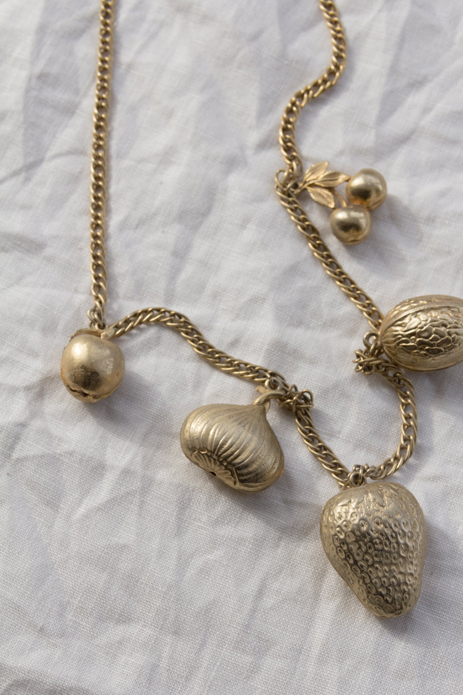 Gold Fruit Charm Necklace