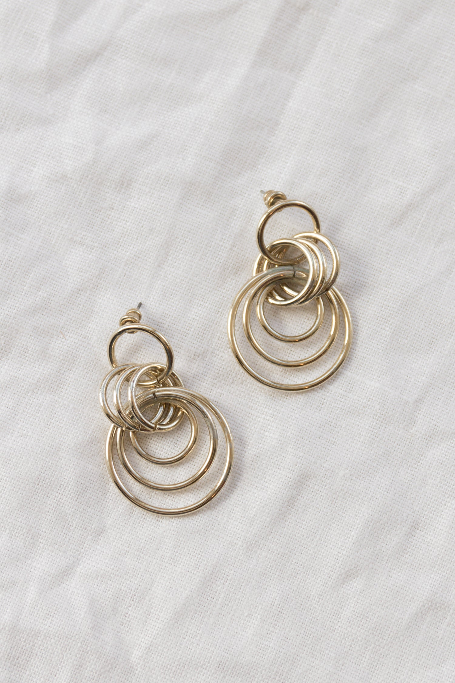 Vintage Gold Interlocked Hoop Earrings