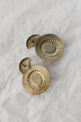 1980s Brass Disc with Pearl Earrings