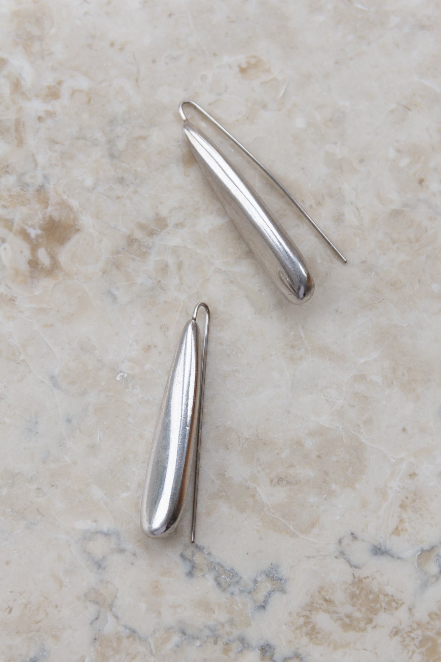Vintage Modernist Sterling Long Hook Earrings