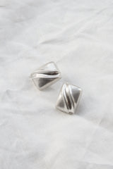 Sterling Rippled Cube Earring