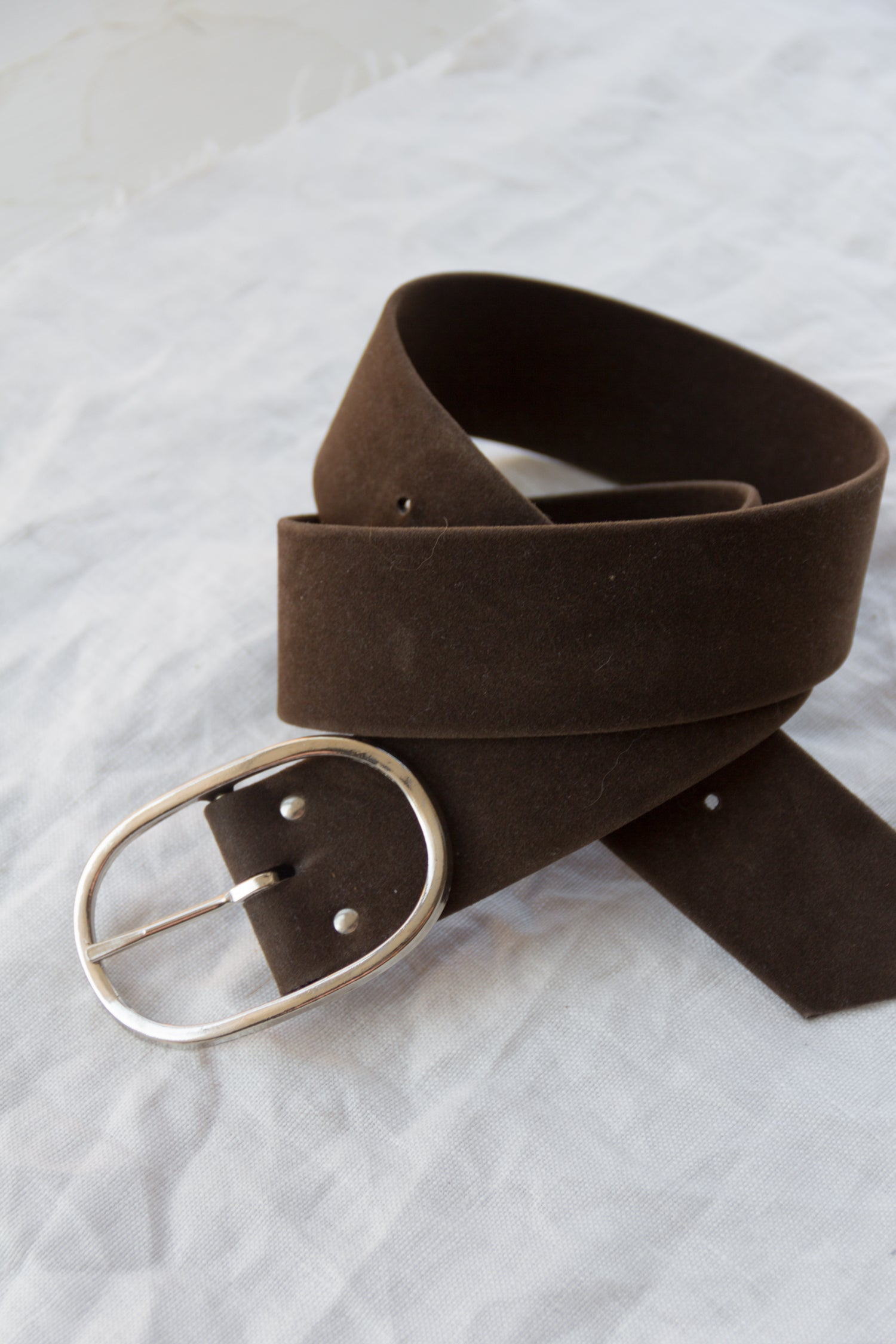 1960s Faux Suede Oval Buckle Belt