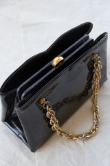 1960s Patent Gold Chain Box Purse