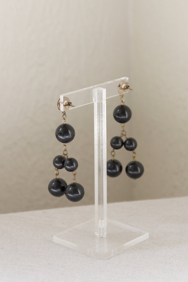 1980s Onyx Ball Drop Earrings