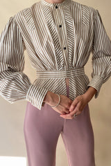 1910s Edwardian Striped Lawn Blouse