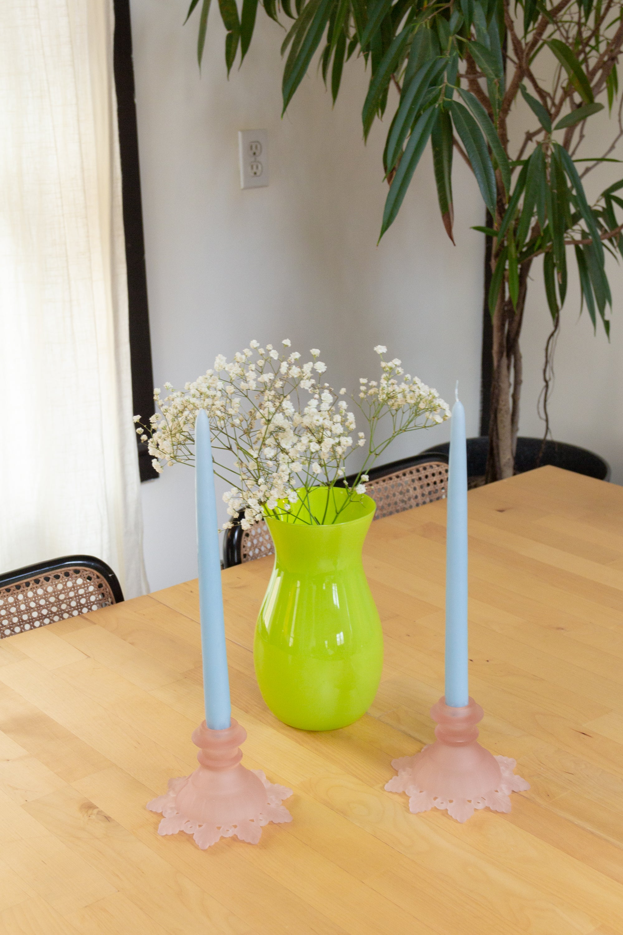 Lime Green Opaque Glass Vase
