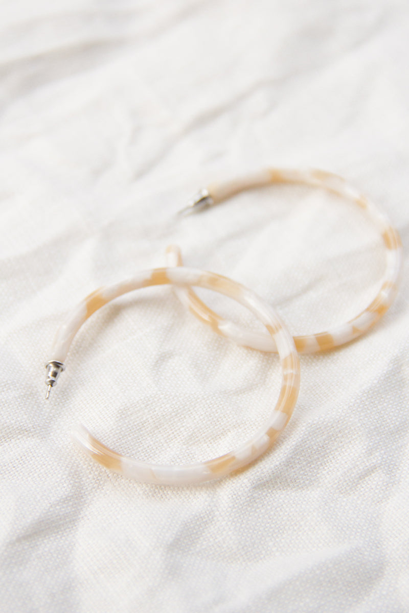 Large Hoops | Taupe Shell