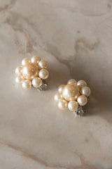 Pearl Daisy Clip On Earrings
