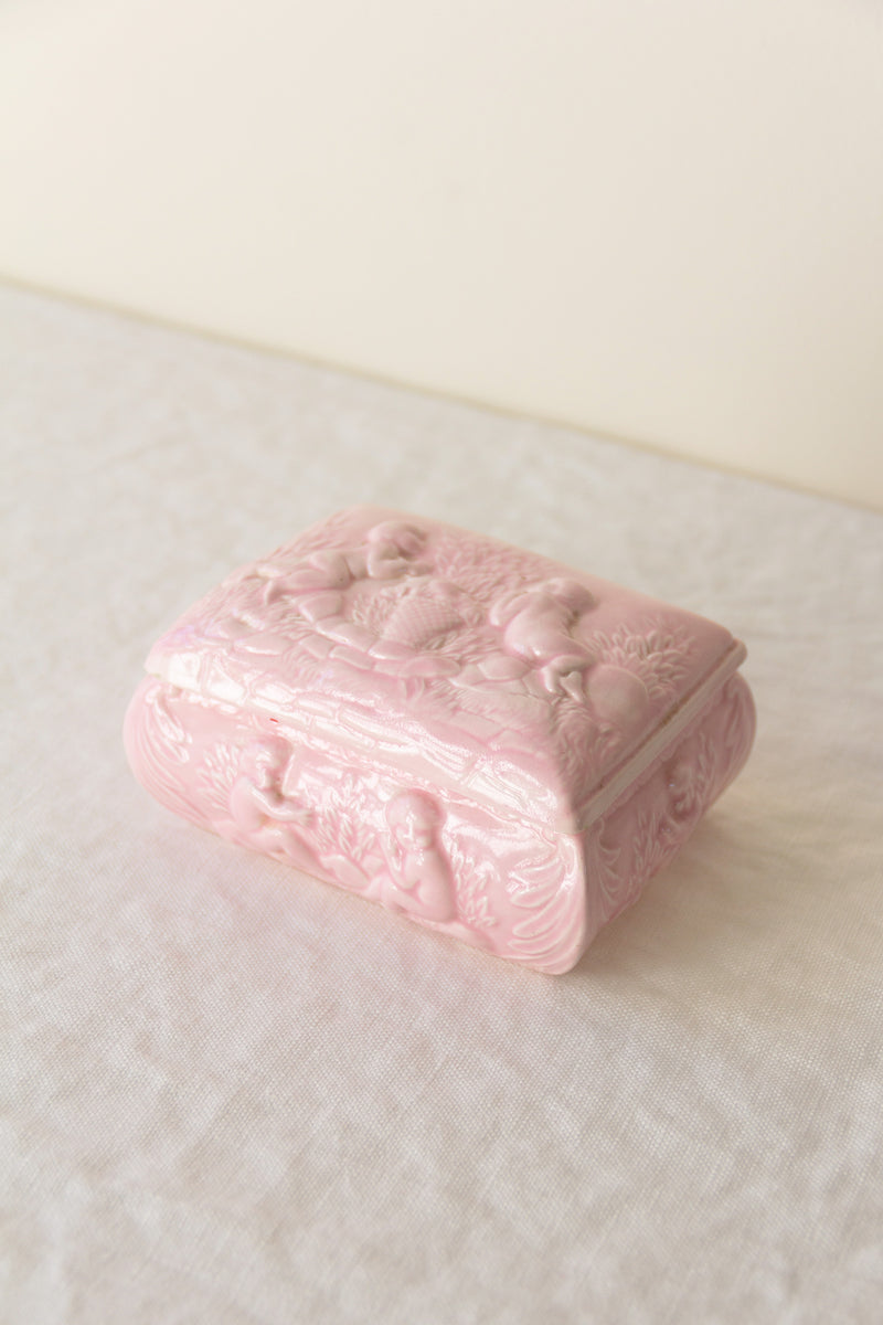 Porcelain Cherub Trinket Box