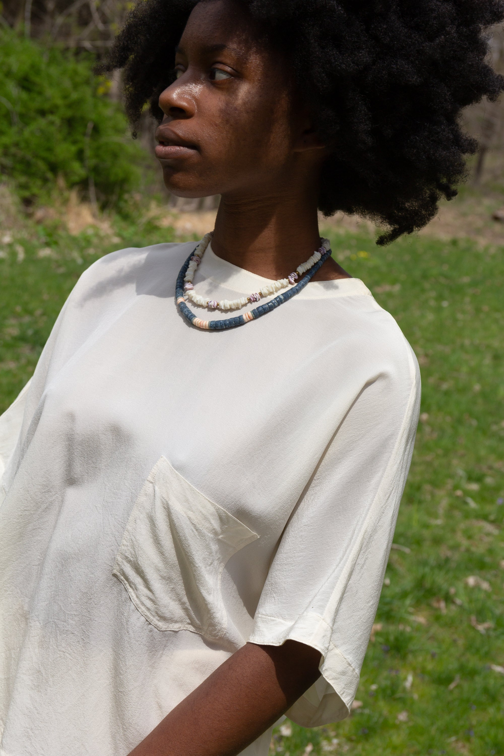 1990s Lilac Puka Shell Necklace