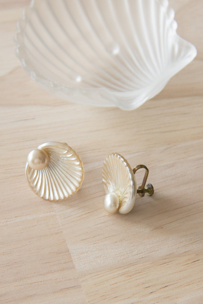 Scallop Shell Twist Back Earrings