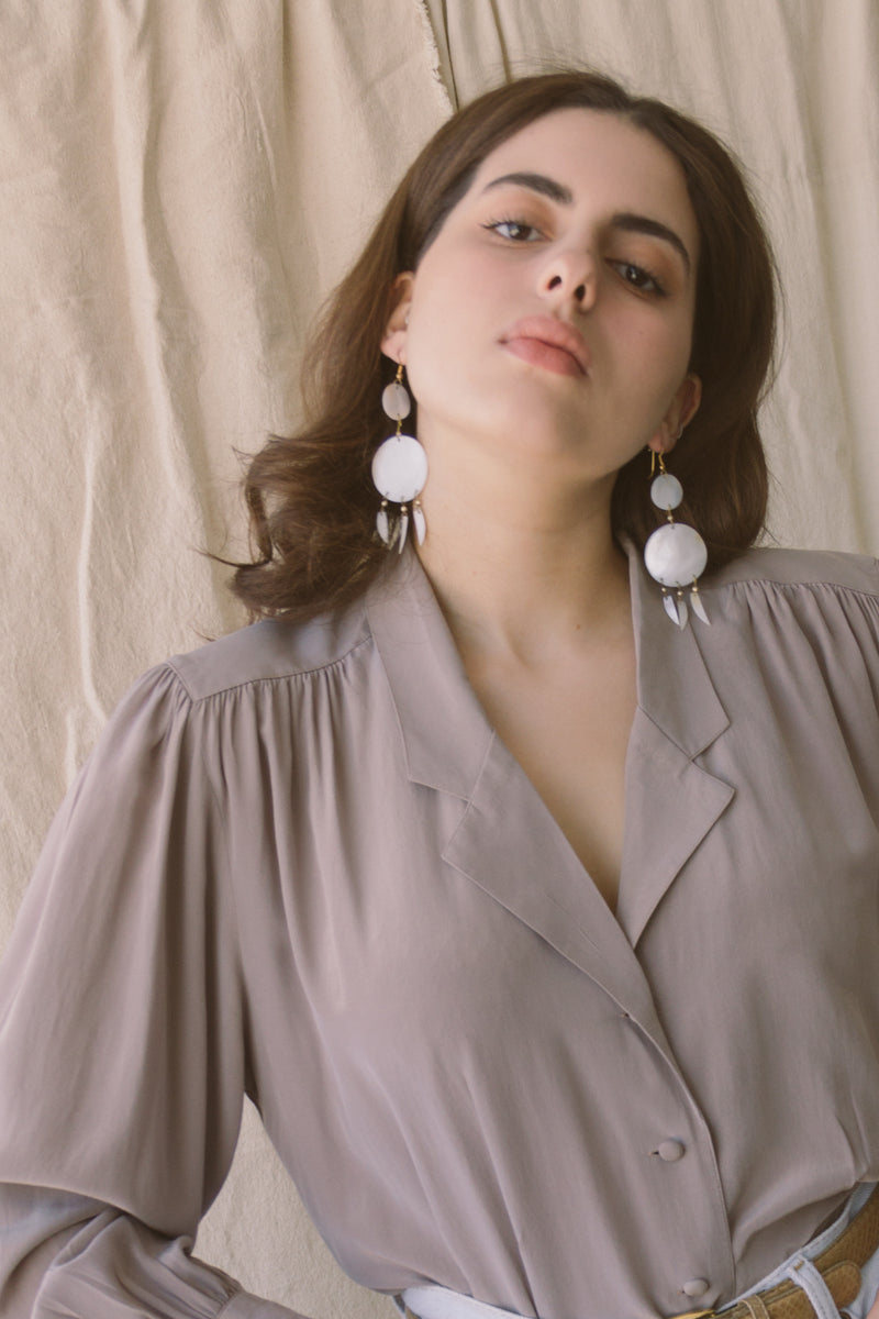 Shell Disc Dangle Earrings