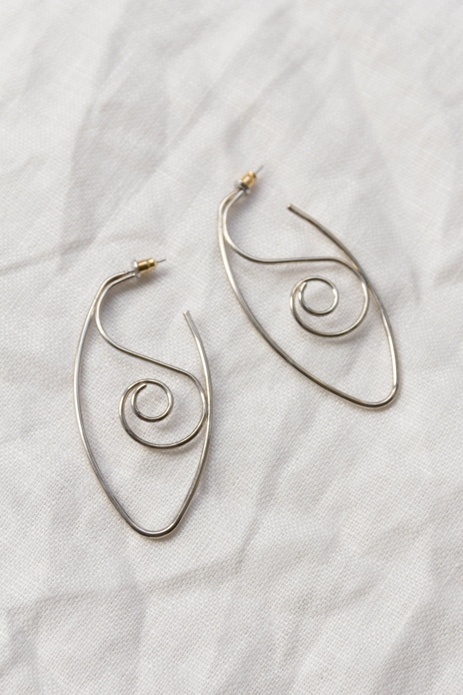 Silver Swirl Wire Drop Earrings