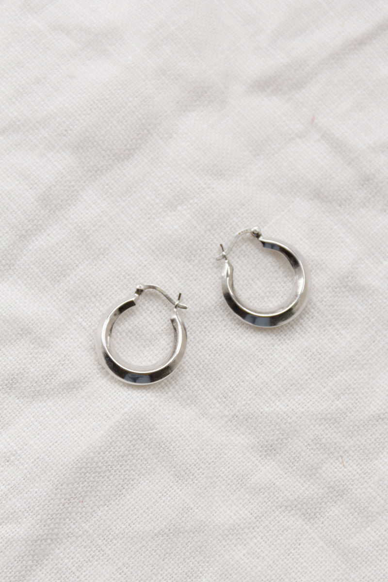 Vintage Small Sterling Angular Hoops